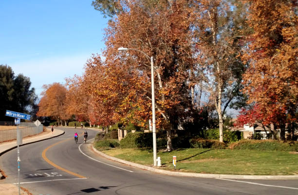 Bikers along rural road with fall colors of trees in city near Redlands California Bikers along rural road with fall colors of trees in city near Redlands California redlands california stock pictures, royalty-free photos & images