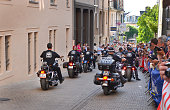 LE MANS, FRANCE - JUNE 13, 2014: Bikers at a parade of pilots racing in Le mans, France