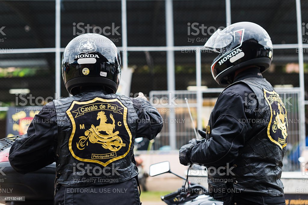 Bikers at the motorcycle meeting stock photo