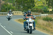 Hobart, Tasmania - March 17, 2019: Bikers group during a road trip.Tasmania Australia is home to one of the oldest continuing motorcycle clubs in the world the Tasmanian Motorcycle Club established in 1905.