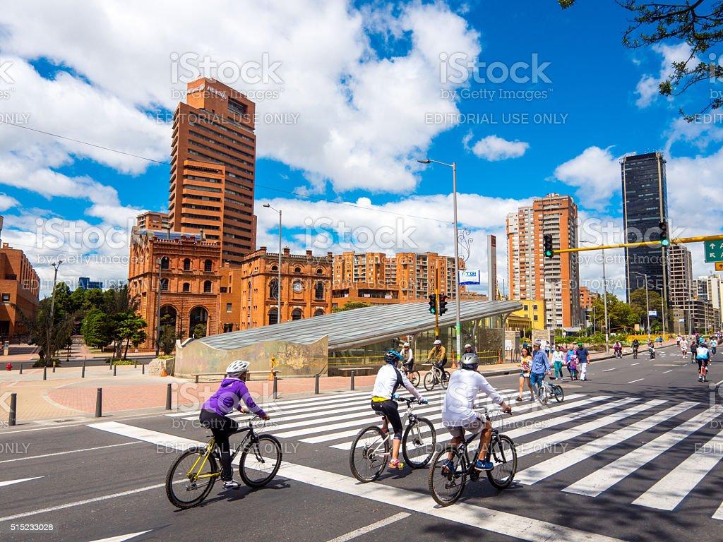 Radfahrer in Bogota, Kolumbien Lizenzfreies stock-foto