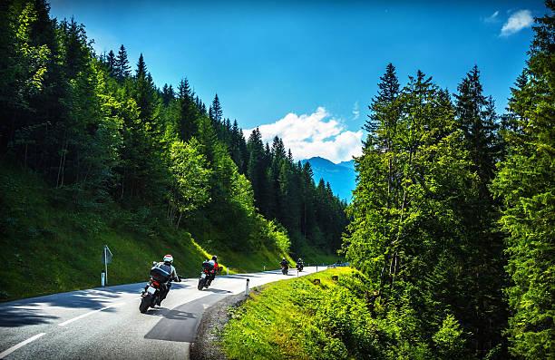 Bikers in mountainous tour stock photo
