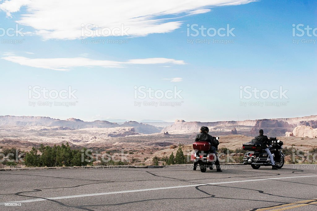 Bikers journey in the wild royalty-free stock photo