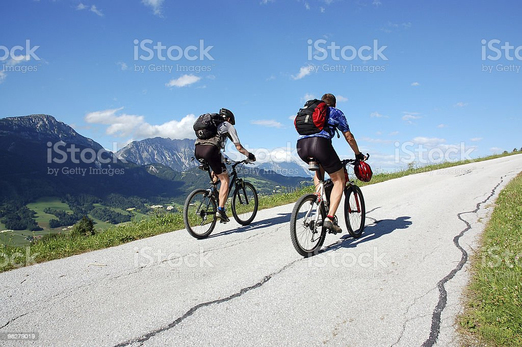 Bikers on the mountain road royalty-free stock photo