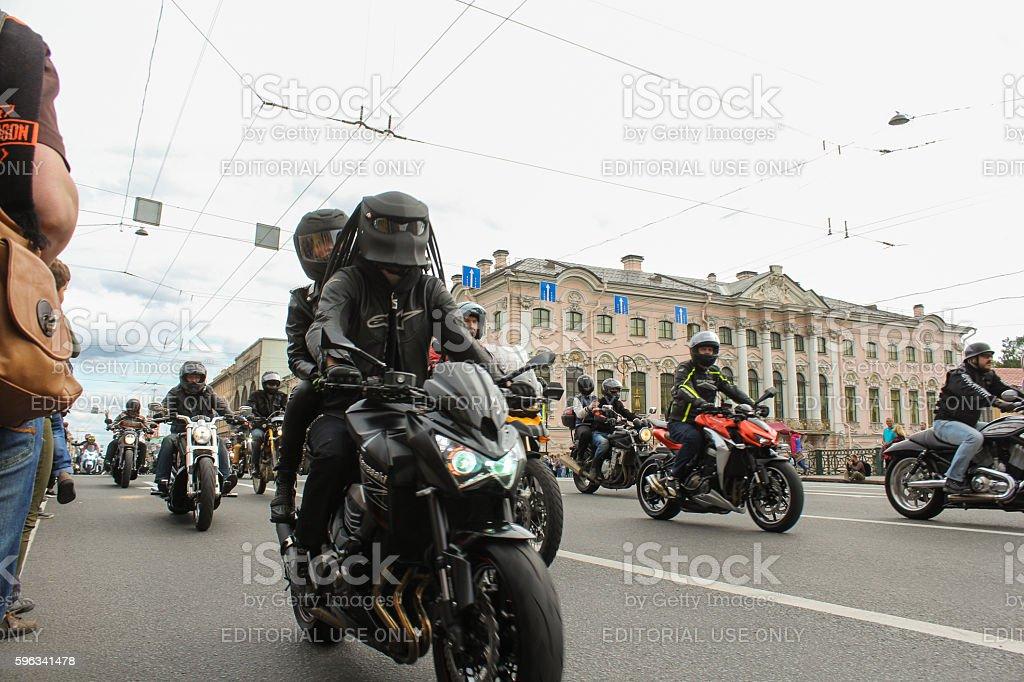 Bikers on the Nevsky Prospekt. royalty-free stock photo