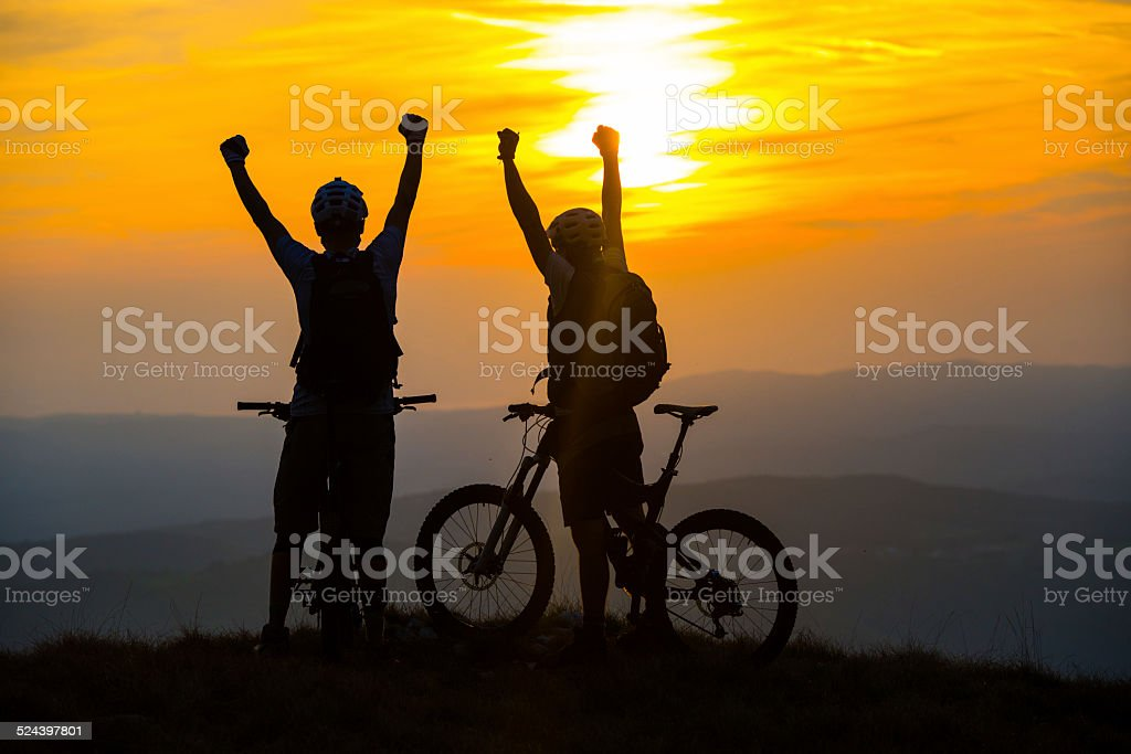 Bikers Rejoicing On Top Of A Hill stock photo