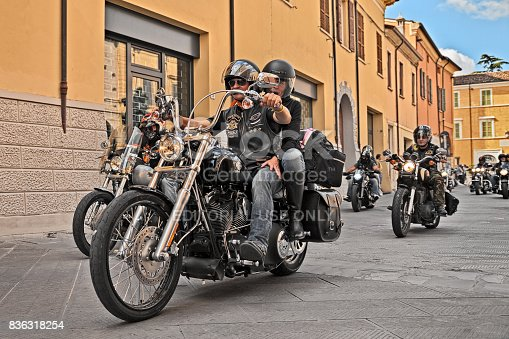 bikers riding American motorbike Harley Davidson during the motorcycle rally