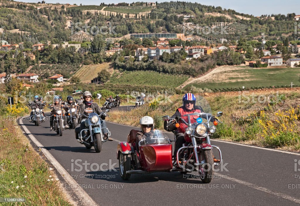 Bikers Riding Harley Davidson With Sidecar Stock Photo
