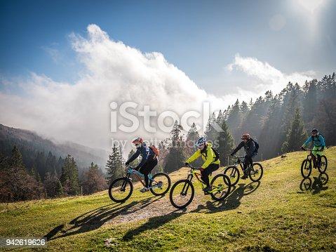 Mountain bikers riding mountain bikes on mountain trail, trees in background.