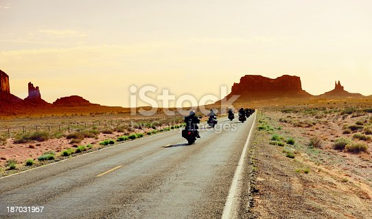Bikers Riding to Monument Valley,Arizona,USA.