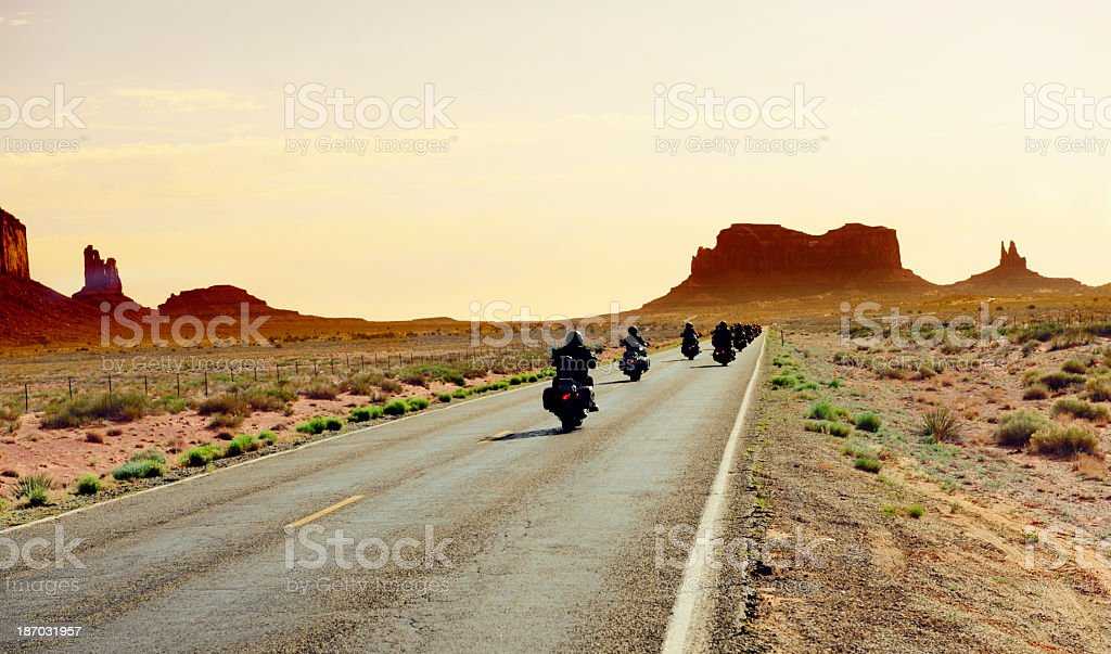 Bikers Riding to Monument Valley stock photo