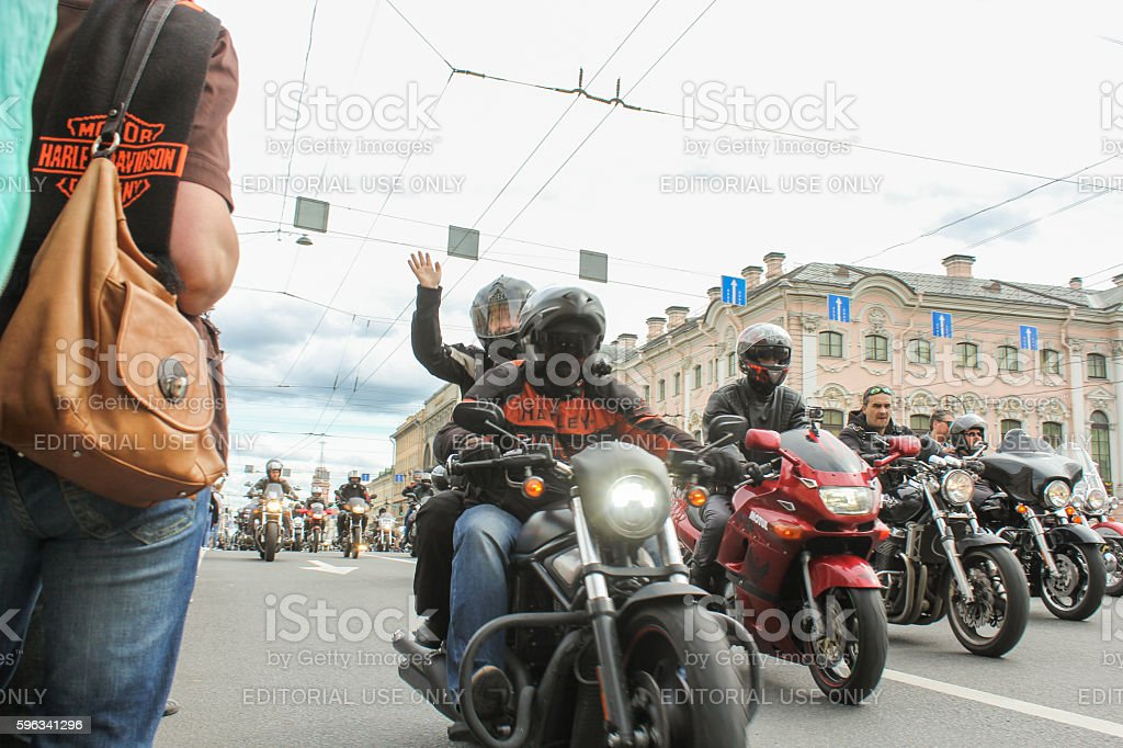 Bikers welcoming audience. royalty-free stock photo