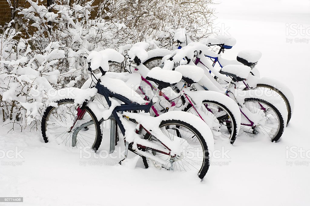 Bikes after the snowstorm. royalty-free stock photo