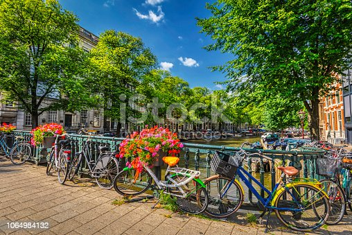 bicycles parked in the street of Amsterdam city center