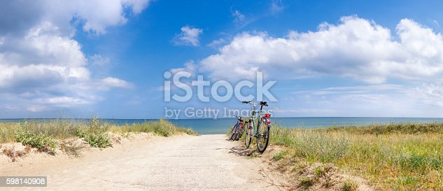 Bikes at the Beach of the Baltic Sea, panorama image