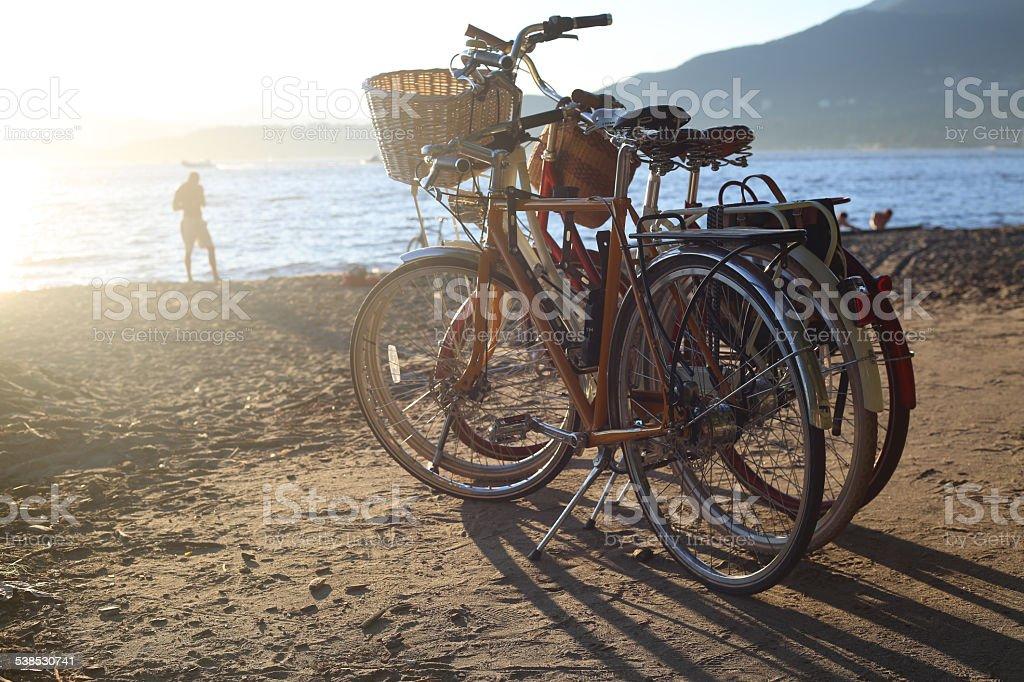 Bikes at Thrid Beach, Vancouver, Canada. stock photo