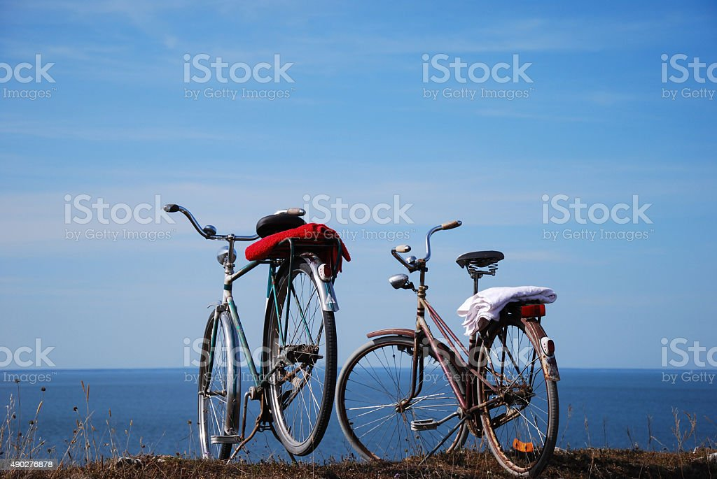 Bikes by the coast stock photo