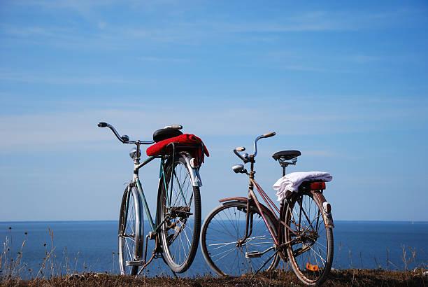 Bikes by the coast stock photo