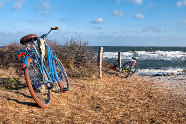 Bikes by the entrance to the beach on island Hiddensee, Baltic sea, Northern Germany, panorama – Foto