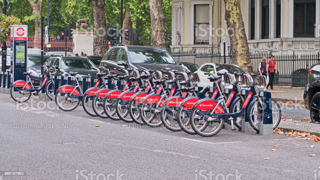 Bikes for hire in London stock photo