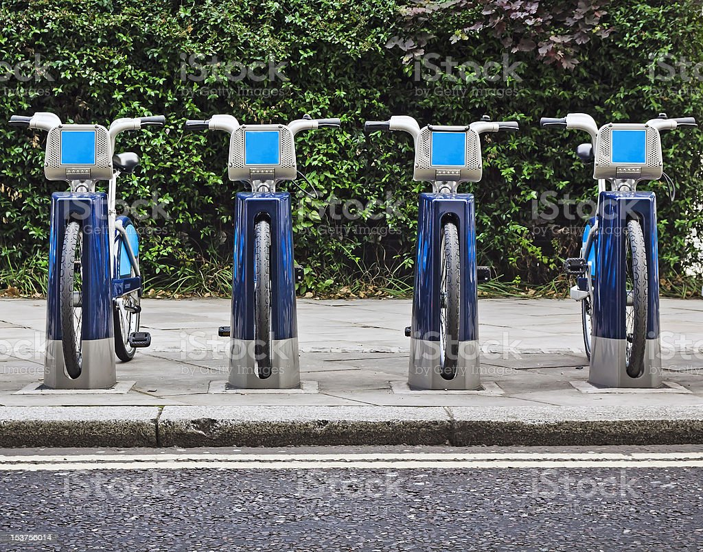 Bikes for rent in London. stock photo
