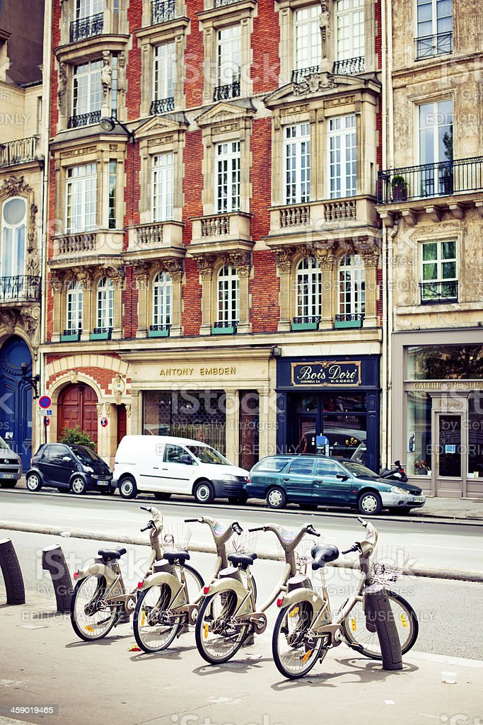 Bikes for rent in Paris royalty-free stock photo