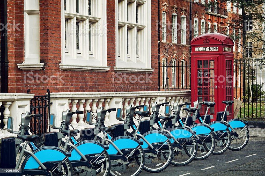 Bikes for rent, London stock photo