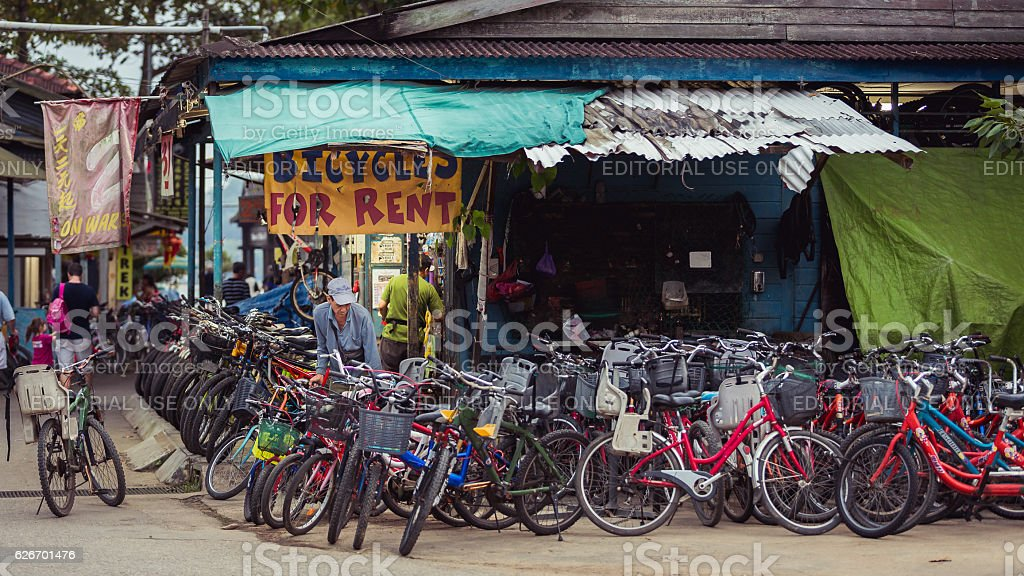 Bikes for rent stock photo
