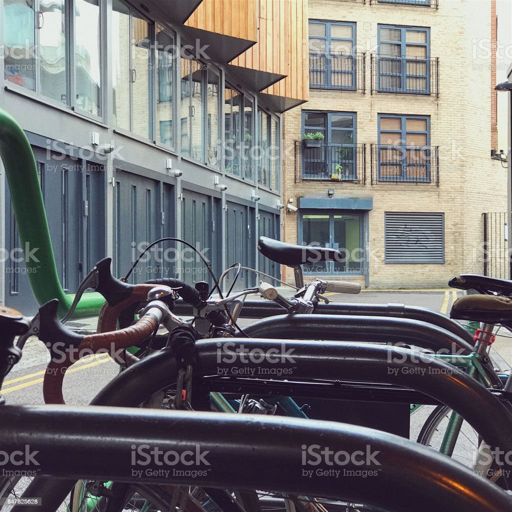 Bikes in a bike stand in London stock photo