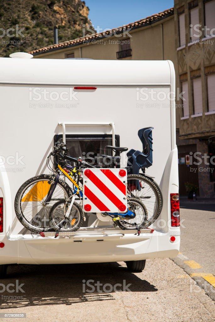 Bikes in a camper van stock photo