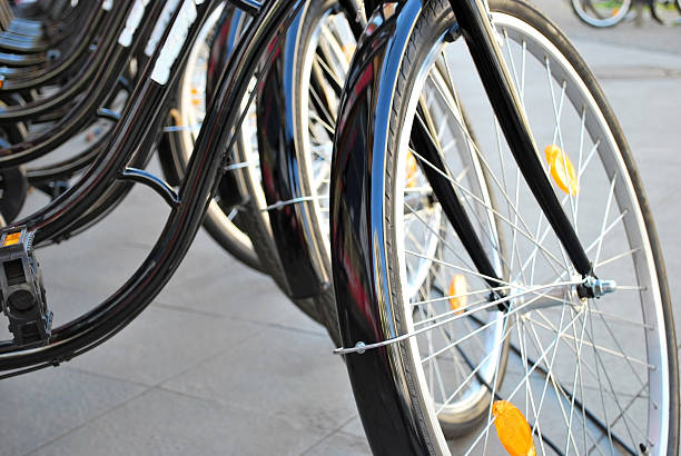 Bikes in a row stock photo