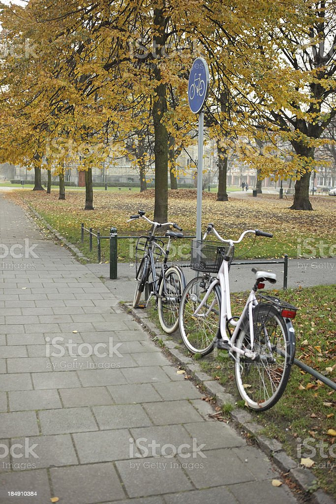 bikes in Autumn royalty-free stock photo