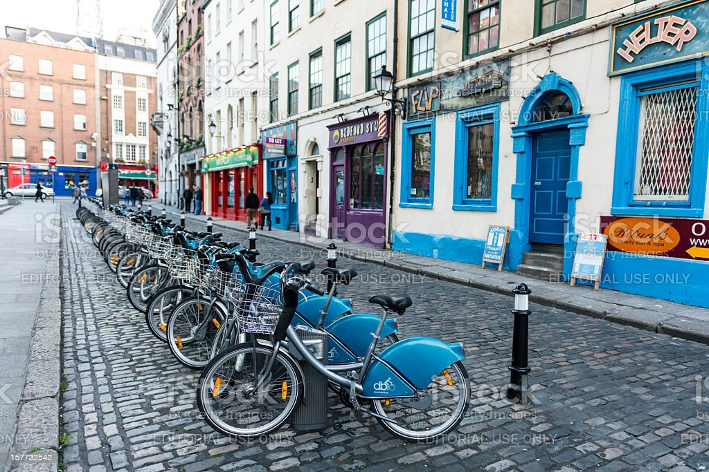 Bikes in Temple Bar royalty-free stock photo