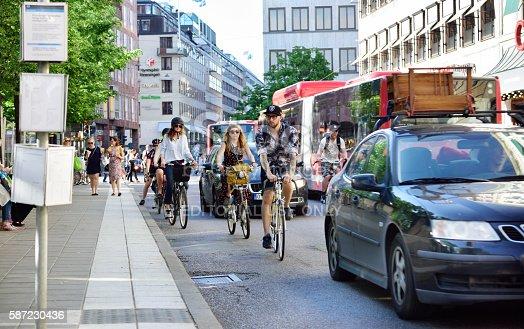 istock Bikes in traffic 587230436