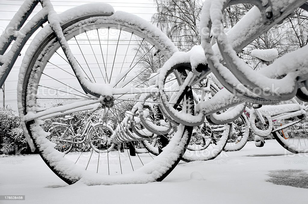 Bikes in winter royalty-free stock photo