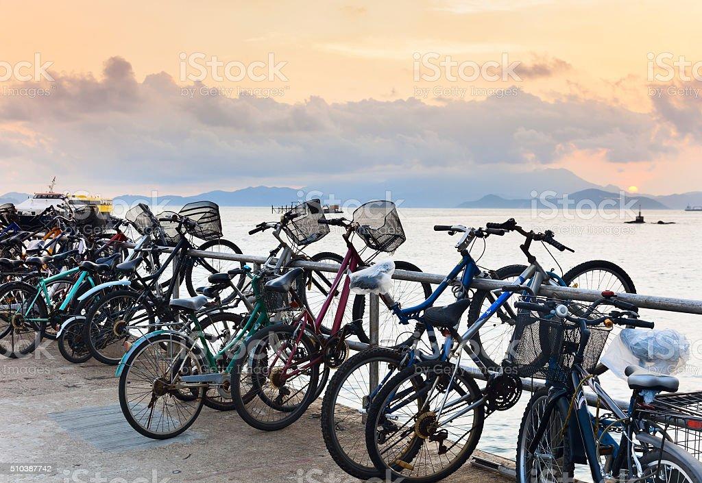 Bikes on pier stock photo
