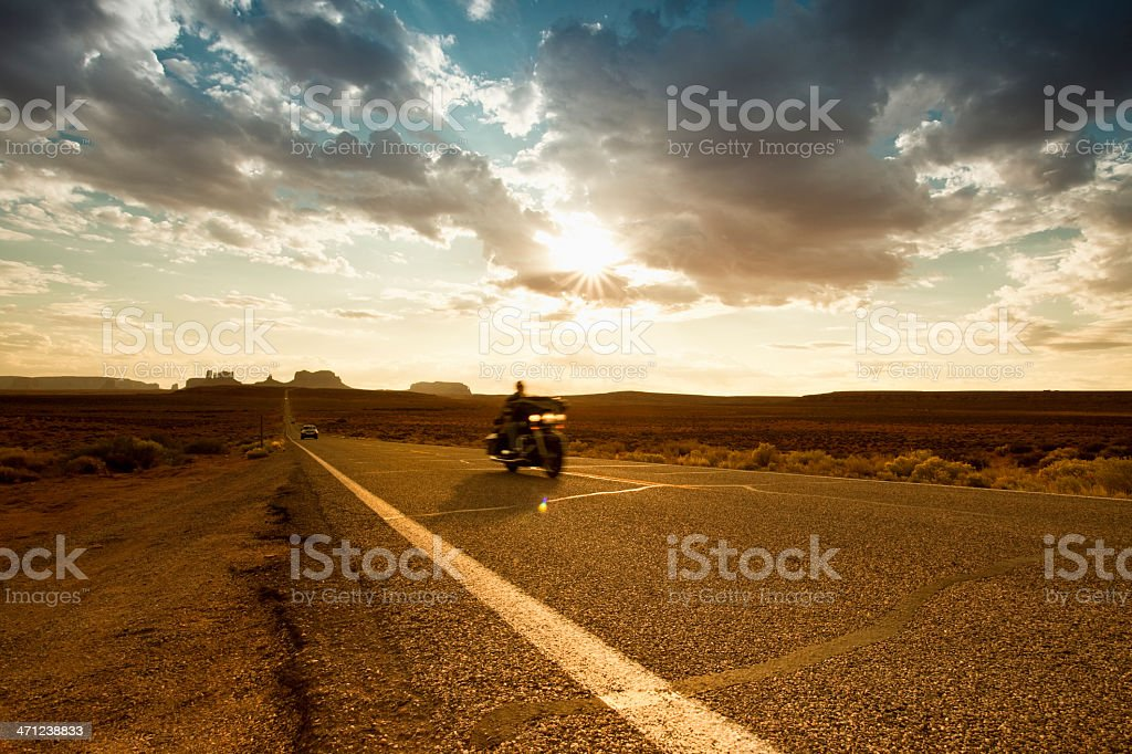 Bikes on the road to Monument Valley royalty-free stock photo