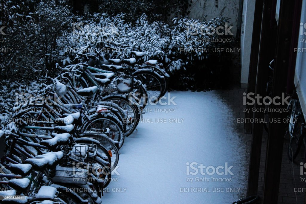 Bikes under snow stock photo