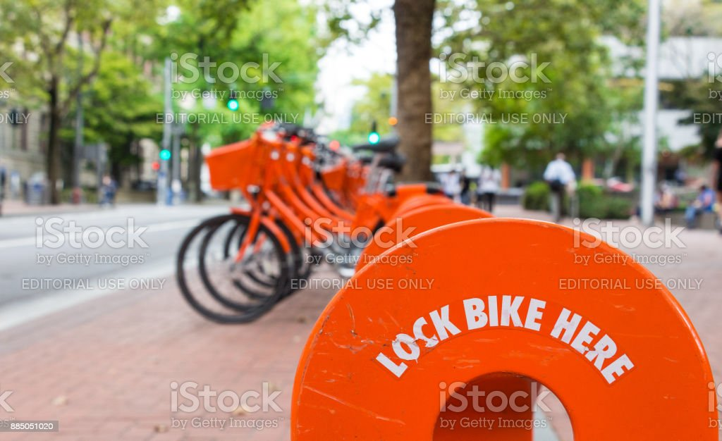 Biketown Station in Portland, Oregon. stock photo