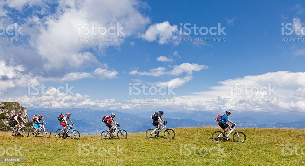 Biking along the ridge, South Tyrol royalty-free stock photo