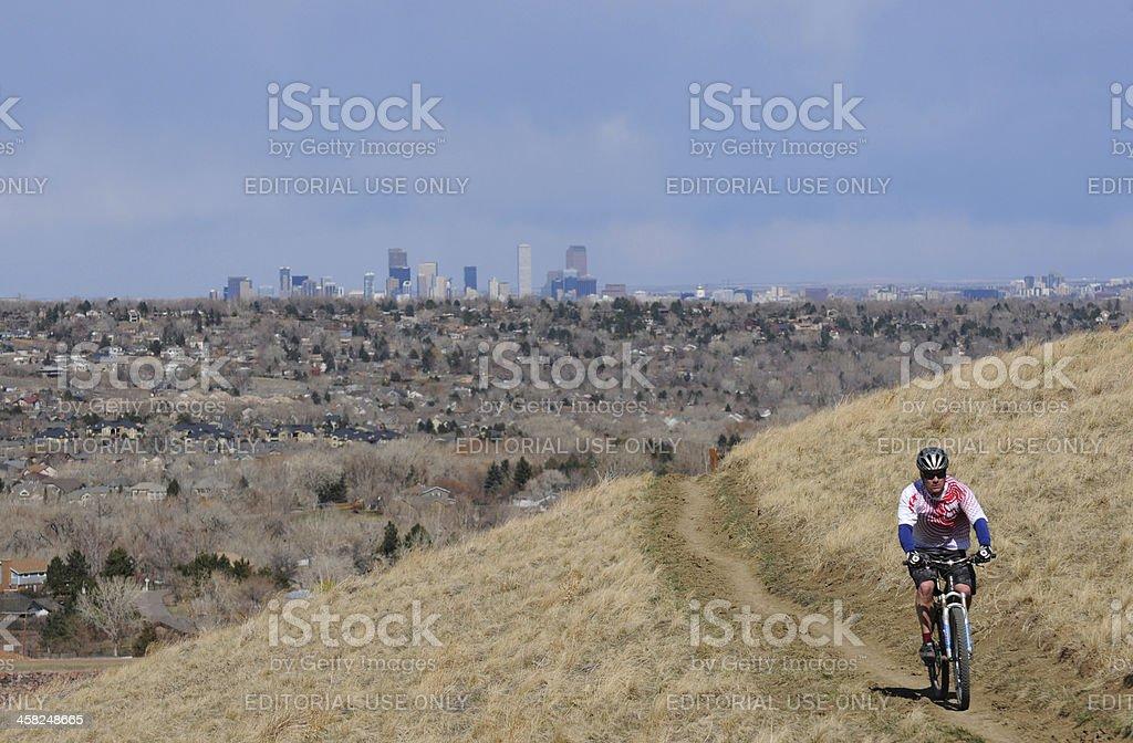 Biking at Mile High royalty-free stock photo