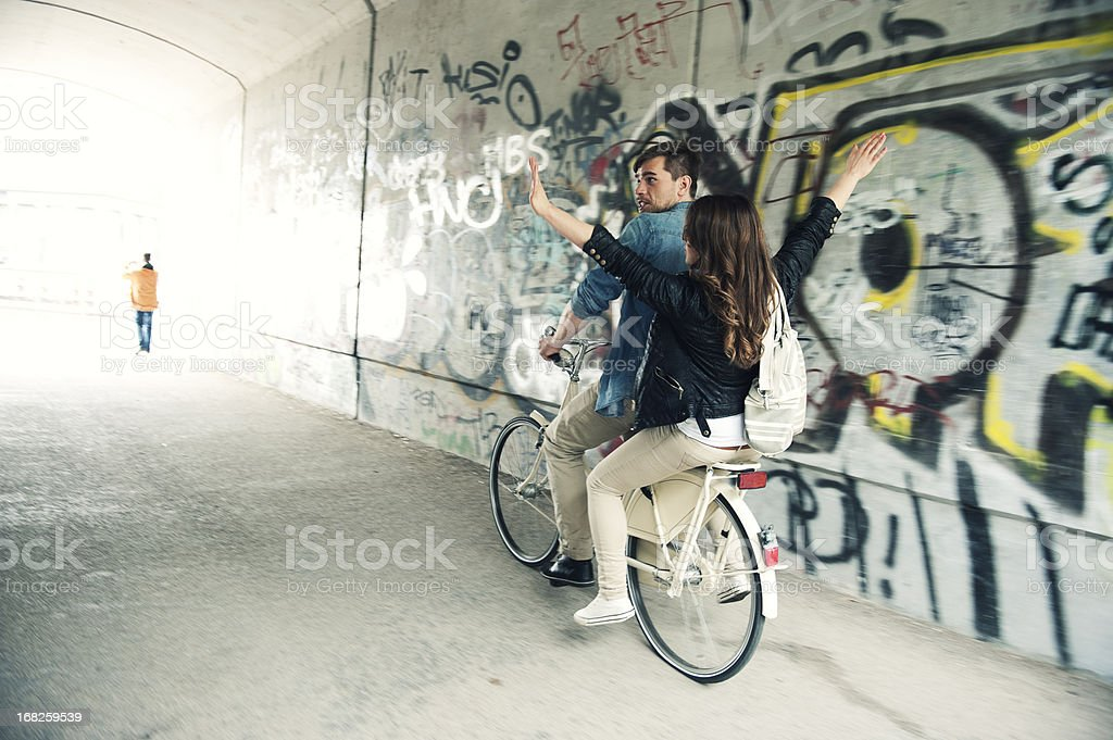 Biking couple in tunnel - Royalty-free 20-29 Years Stock Photo