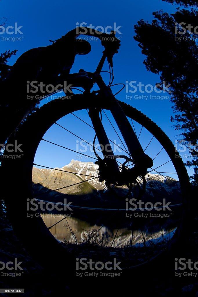 Biking in Banff National Park royalty-free stock photo