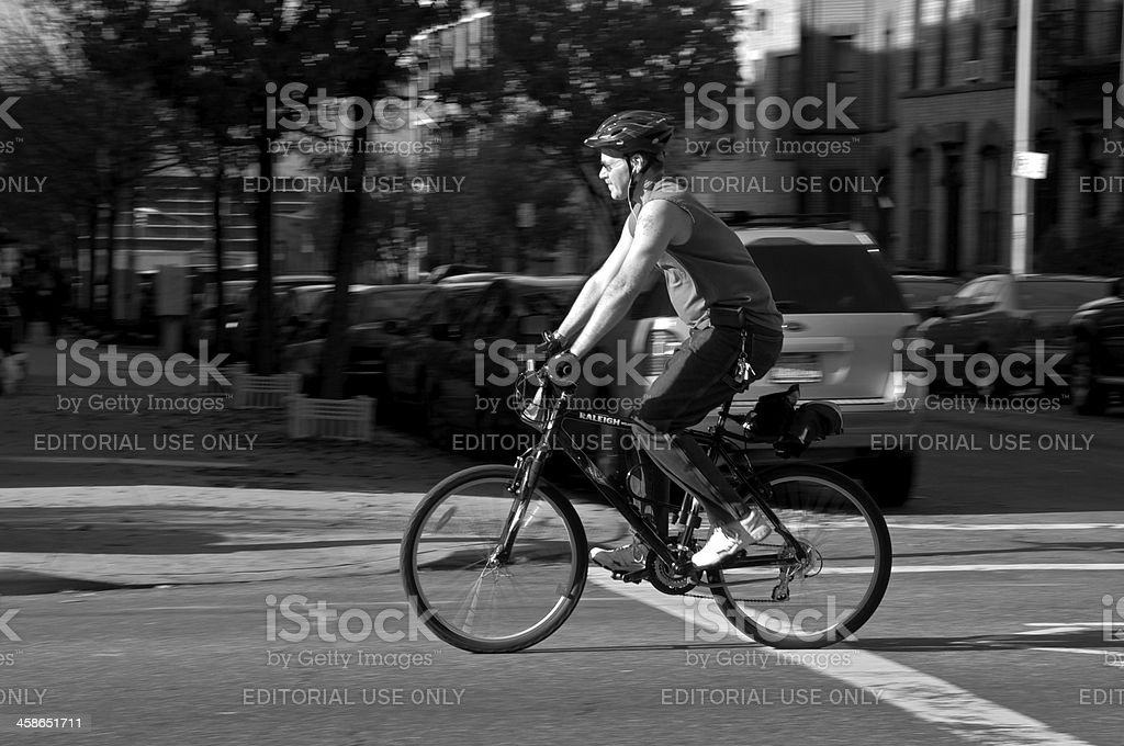 Biking in New York City, Park Slope, Brooklyn royalty-free stock photo