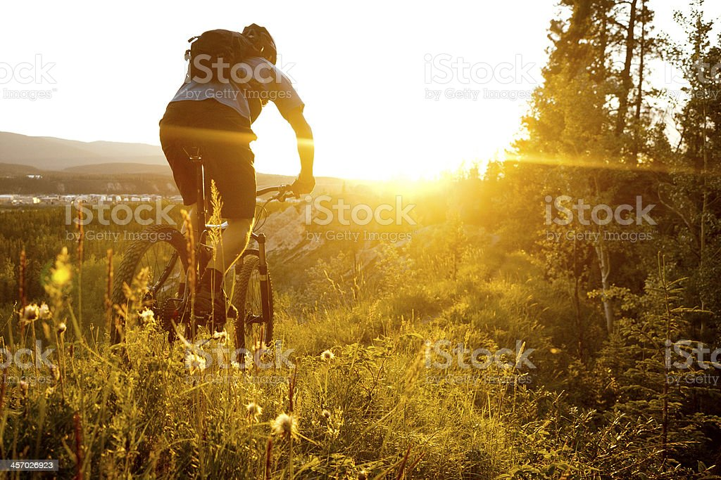 biking in sunset. stock photo