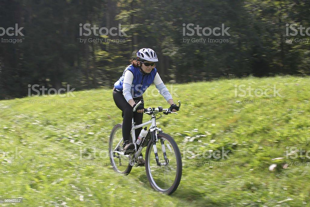 Biking in the green stock photo