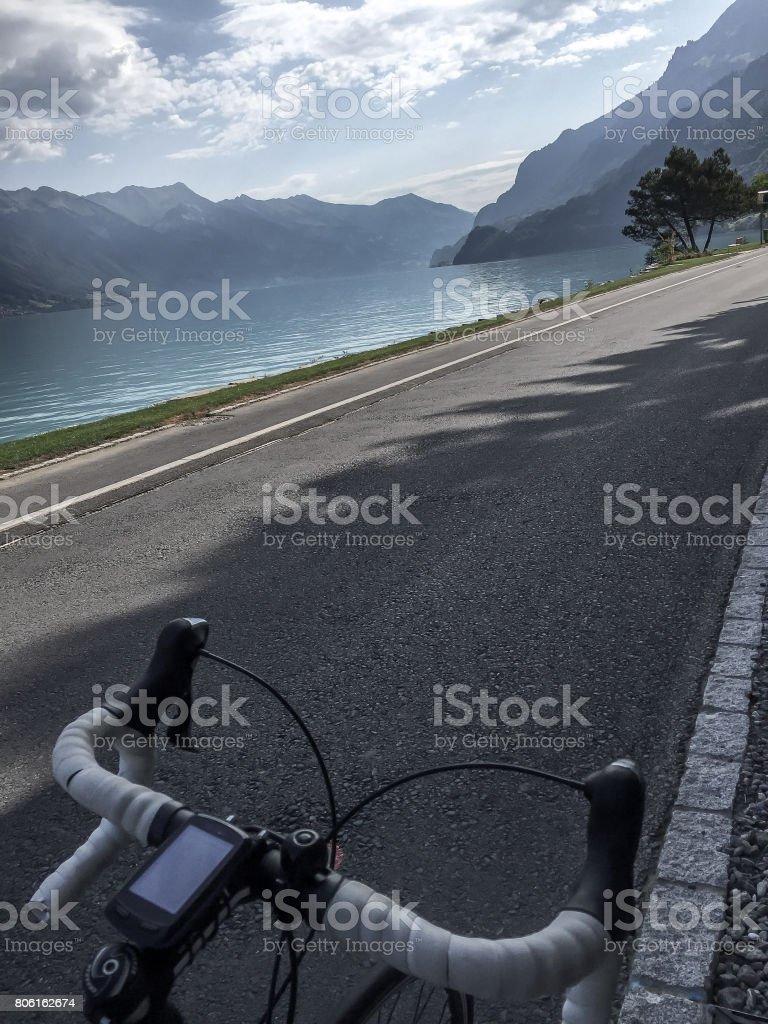 Biking next to the brienzersee stock photo