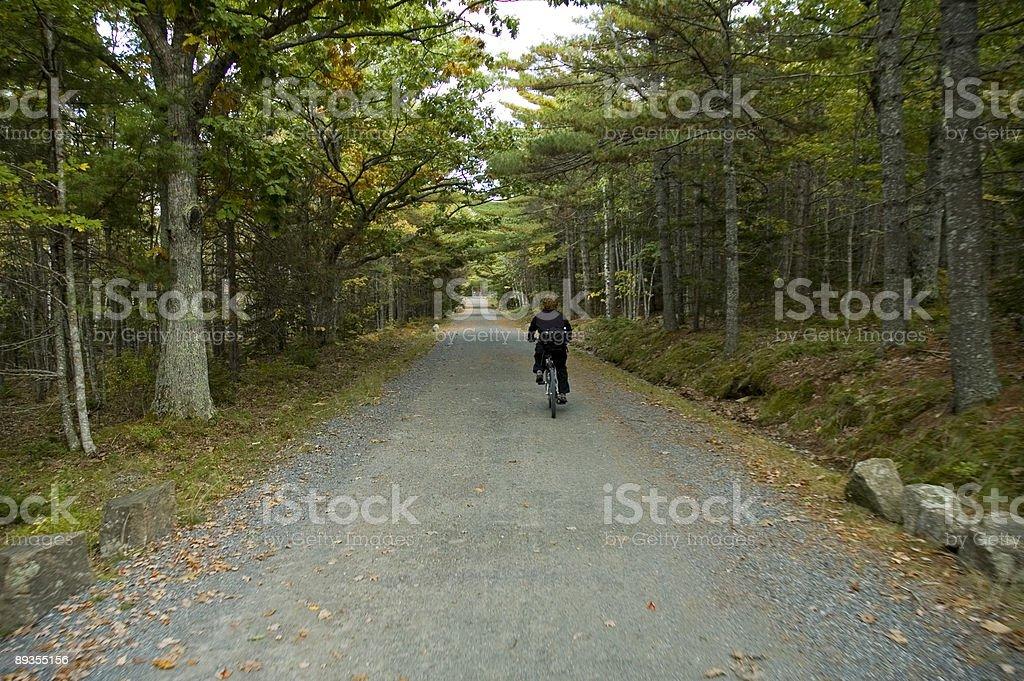 Biking on Carriage Road stock photo