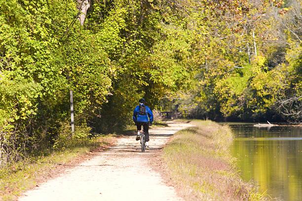 biking on the C & O canal stock photo