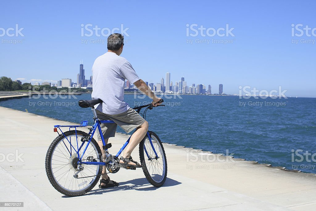 Biking the Chicago Lakefront royalty-free stock photo